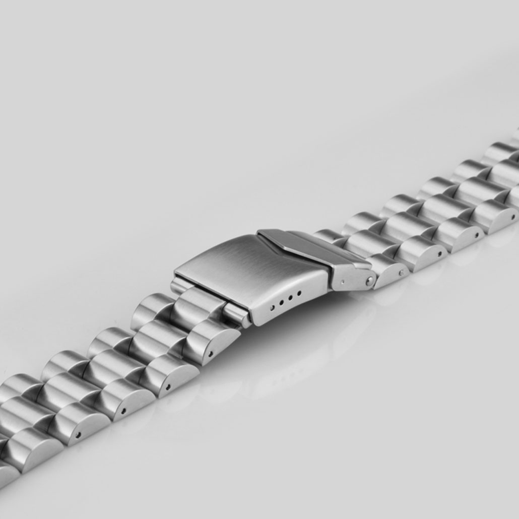 WS020 Silver Stainless-Steel Watch Strap With Safety Buckle
