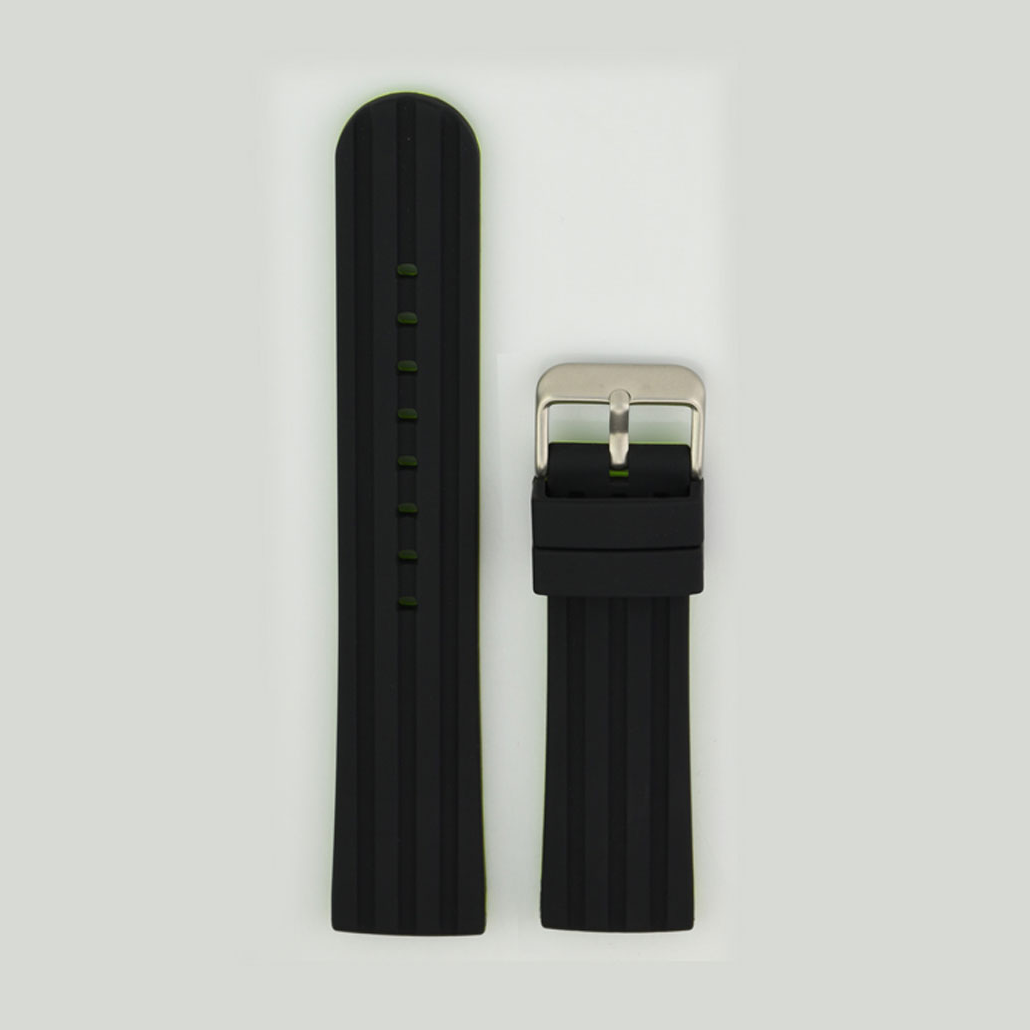 Black And Green Silicone Rubber Watch Strap