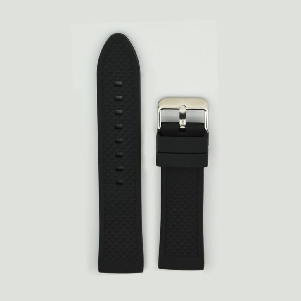 Black Silicone Rubber Watch Strap