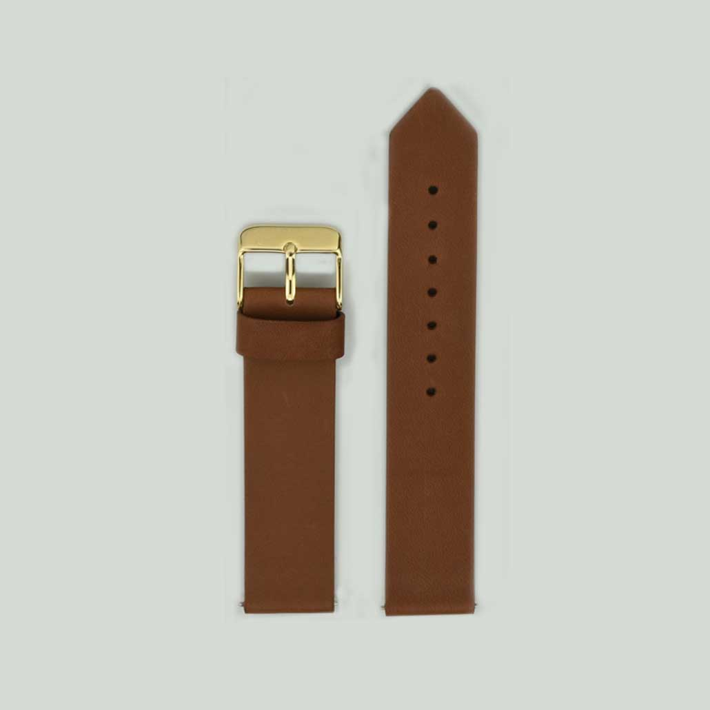 Coffee And Gold Leather Watch Strap