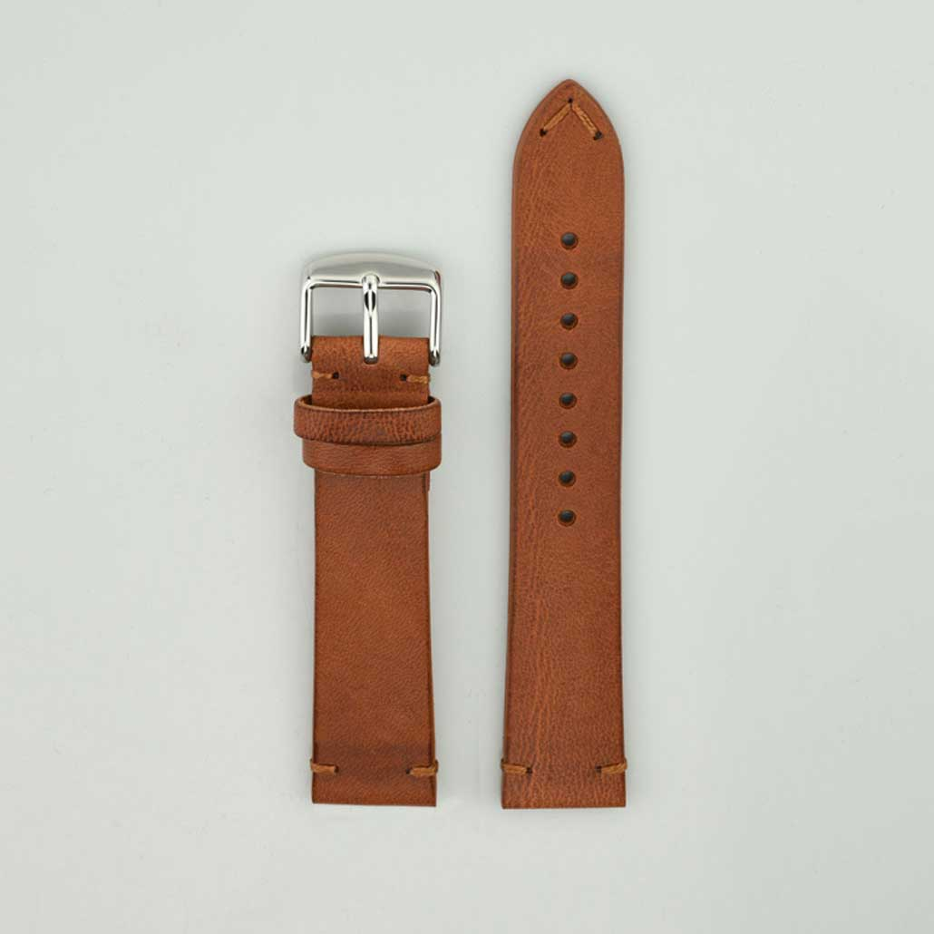 Fine Leather Watch Strap In Brown
