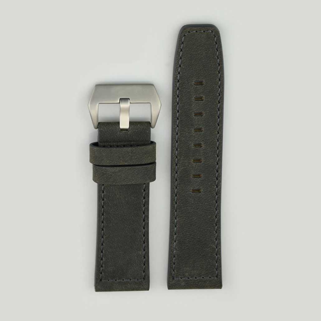 Grey Leather Men's Watch Strap