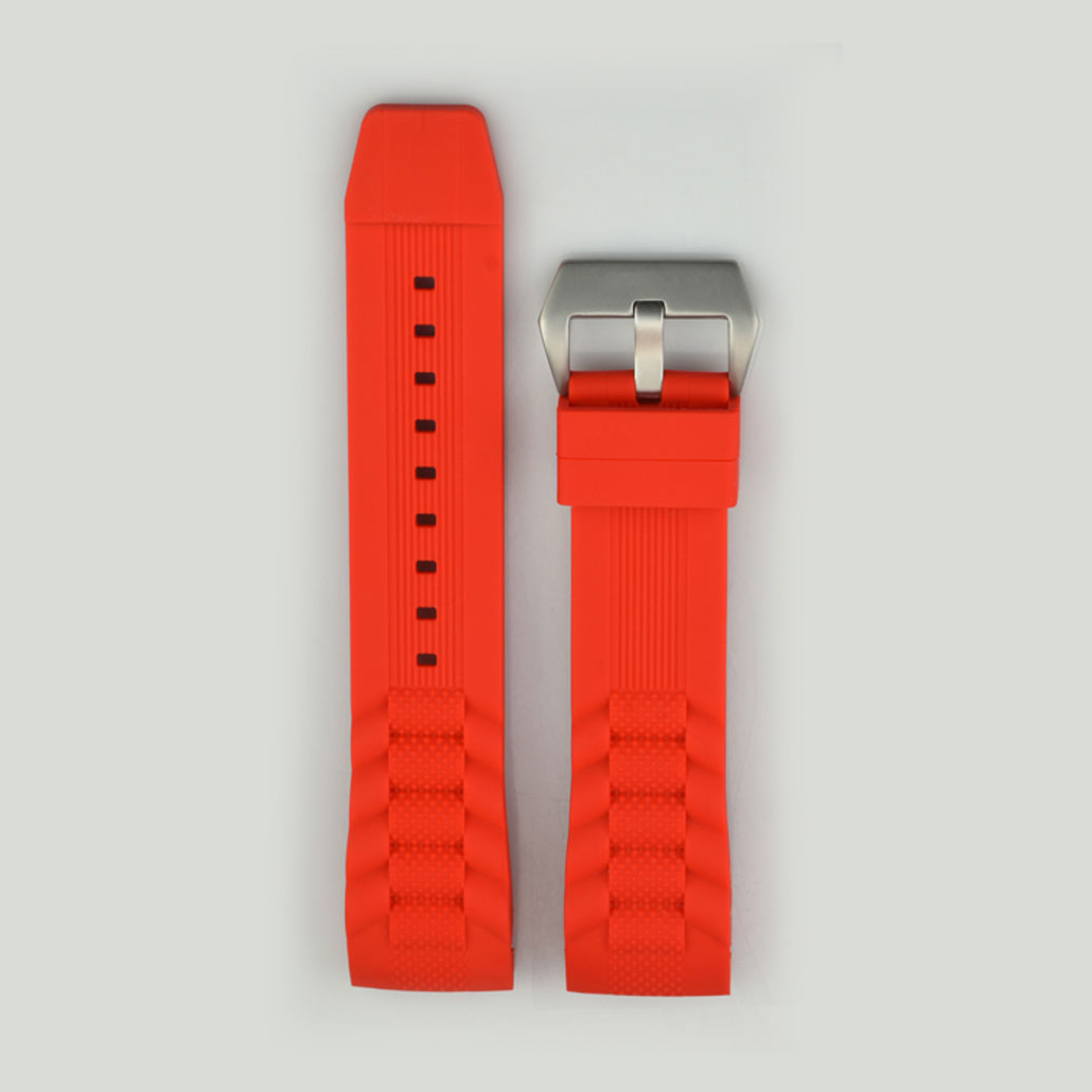 Red Silicone Rubber Watch Band